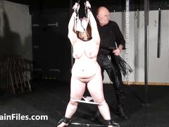 Bagged bbw in extreme breast whipping and tit torture