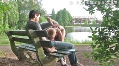Teen threesome public sex in public park in broad...