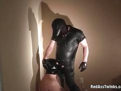 Tied weird masked gives head in bdsm sex.