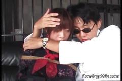 Horny asian chick getting tortured while