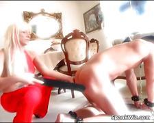 Hot sexy blonde spanks guys big butt
