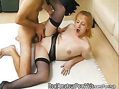 Skinny housewife in black fishnet stockings gets fucked