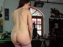 She masturbates on the pool table