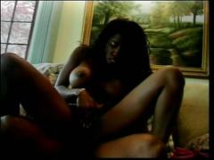 Ebony snatch accepts huge schlong
