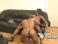 Ebony thug feeds his black cock to his black lover