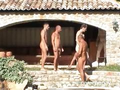 Outdoor orgy and anal adventure with hory studs.