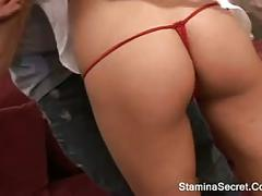 Hot blonde fucked on her shave pussy
