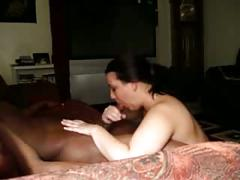 Big tit white woman sucks blk dick