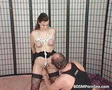 Milf in stocking gets tied and bondage