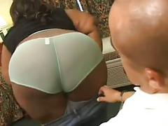 Ebony fat babe takes big white cock