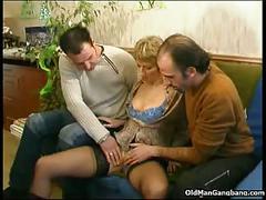 Horny woman takes three cocks