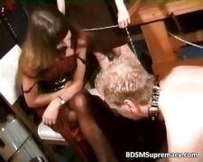 Extreme threesome bdsm play with nude