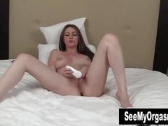 Busty megan vibrates her twat