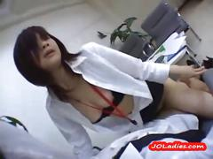 Office lady sucking cock getting her pussy fucked in...