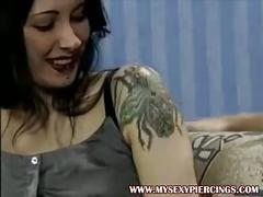 Heavy pierced and tattooed slut anal sex