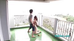 Busty asian girl in bikini getting her tits fucked...