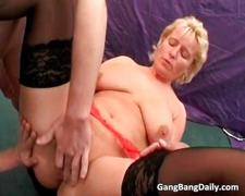 Hot blonde milf receives big dildos