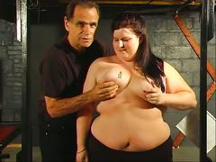 Bbw hottie gets her tits squeezed by her master