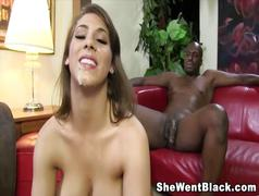 Big tit brunette gets a huge black cock an big messy...