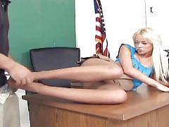 Petite blonde rebecca giving a footjob in nylon