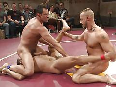threesome, wrestling, public, fighting, gay blowjob, gay, tattoos, naked kombat, kink men, brock avery, kip johnson, nick capra, jessie colter