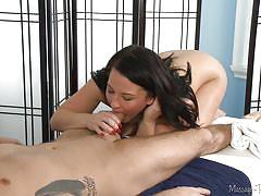 Casey makes brad cum on the massage table