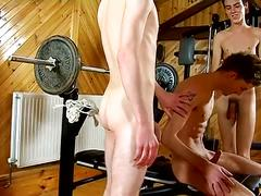 Gym anal threesome with aj, karl and josh