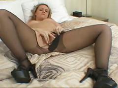Amber pantyhose tease