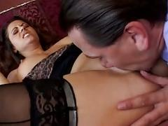 Dirty girl with lingerie loves big dick