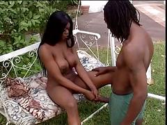 Black couple banging the woods
