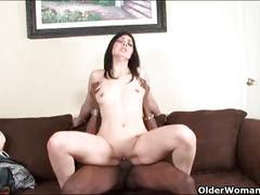Mature milf drains a big black cock