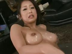 Dirty satomi oils up her body & takes on two dicks