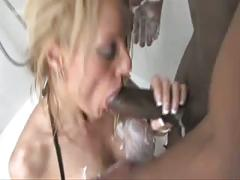 British blonde slut gets fucked in the shower