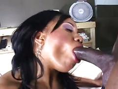 Monster black cock drilling tight ebony wet pussy