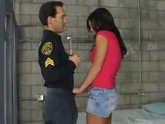 Horny brunette fucked by police in jail