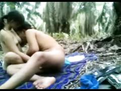 Indonesian teen fucked in the jungle