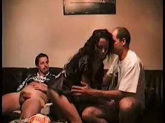 Hubby works wife slowly into having a threesome