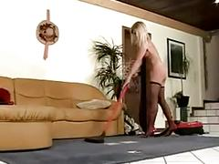 Leggy blonde double penetration in stockings.