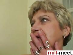 Nasty ass granny has a stallion to fuck with