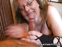 Busty amateur wife handjob and blowjob with cum in mouth