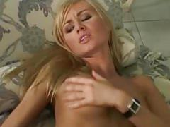 babe, brunette, young, blonde, heels, lesbian, girl-on-girl, pussy-licking, rubbing, fingering, natural-tits, perky-tits, toy