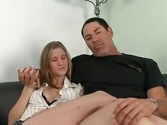 Stud watches as sexy slut gets fucked and creamed by black guy