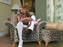 ebony, masturbation, strip-tease, stockings, panties, nylons, pussy, heels, milf