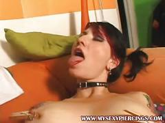 Pierced and tattooed punk girl rubbing her swallen clit