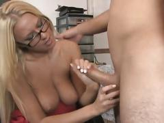 Hot girl with glasses fucked in the office