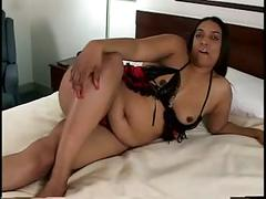 Big sexy black bitch sucks guys hard cock then fucks