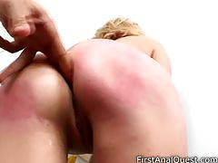 Teen blondy takes big black cock in ass.