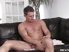solo, masturbation, jerking off, muscular, shaved dick, gay, hot body, oiling, on couch, brunet, rod, gay cinema club, gay tronix