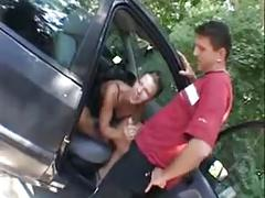 German slut fucked on car parking
