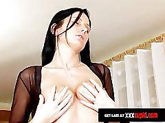 Beauty with dark hair gets jizz on her tits